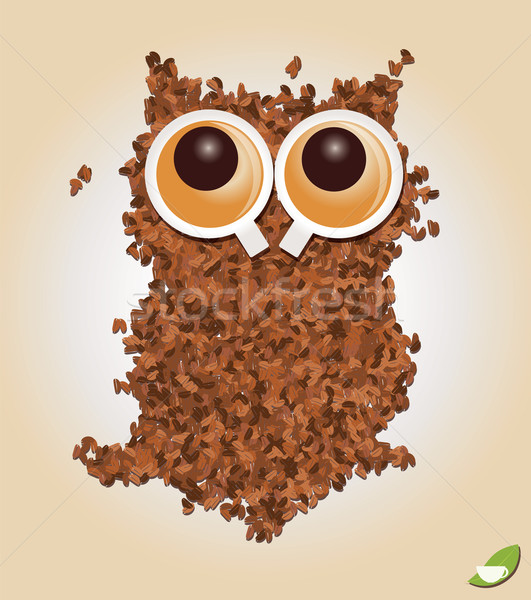 coffee inspired illustrations, with owl, coffee beans  Stock photo © BlueLela