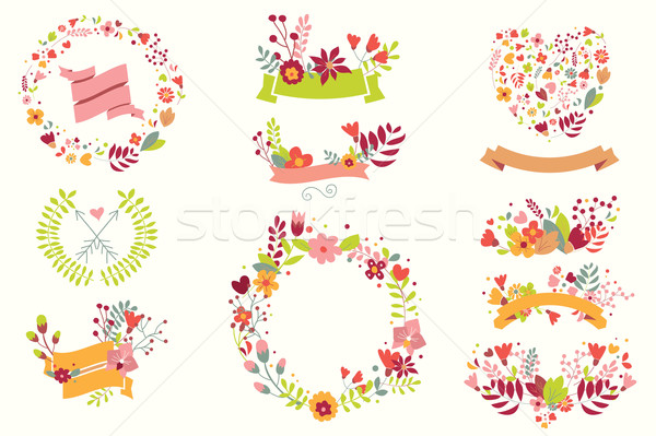 Stock photo: Hand drawn vintage flowers and floral elements for weddings, Valentines day, birthdays and holidays,