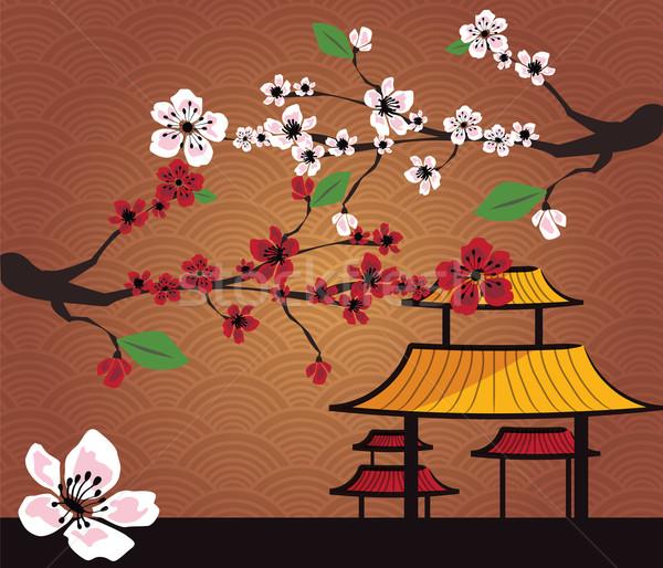 Japon kart kiraz çiçeği sakura geleneksel elemanları Stok fotoğraf © BlueLela