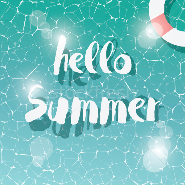 Swimming pool, top view, typographic hello summer message, summer time holiday vacation, vector illu Stock photo © BlueLela