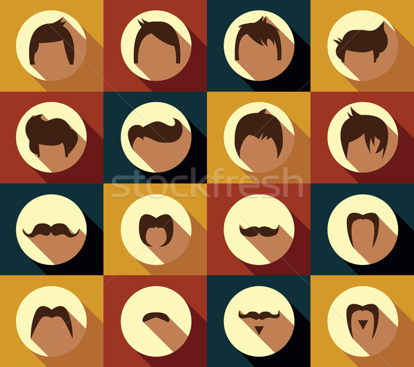 Collection of hipster retro hair styles and mustaches, vector illustration Stock photo © BlueLela