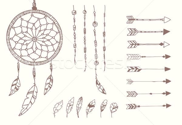 Hand drawn native american feathers, dream catcher, beads and arrows Stock photo © BlueLela