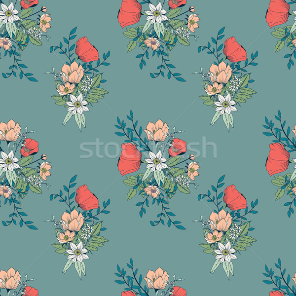 Seamless pattern design with hand drawn flowers and floral eleme Stock photo © BlueLela