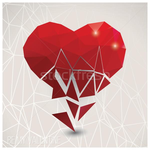 Valentine s day card, geometric triangle pattern, broken heart,  Stock photo © BlueLela