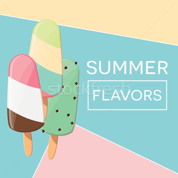 Modern typographic summer poster design with ice cream and geometric elements, vector illustration Stock photo © BlueLela