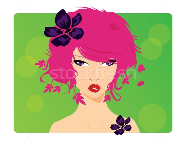 Portre güzel genç kız gözler saç bayan Stok fotoğraf © BlueLela
