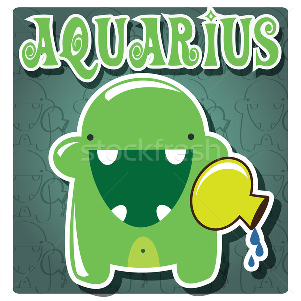 Zodiac sign Aquarius with cute colorful monster Stock photo © BlueLela