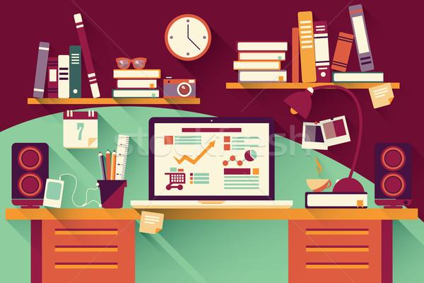 Stock photo: Home office desk - flat design, long shadow, work desk, computer