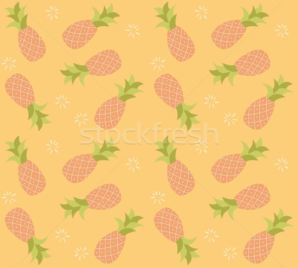 Seamless pattern with hand drawn pineapple fruit Stock photo © BlueLela