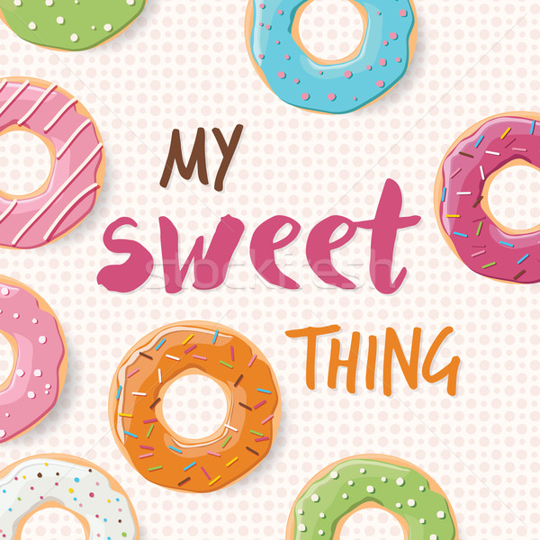 Stock photo: Poster design with colorful glossy tasty donuts