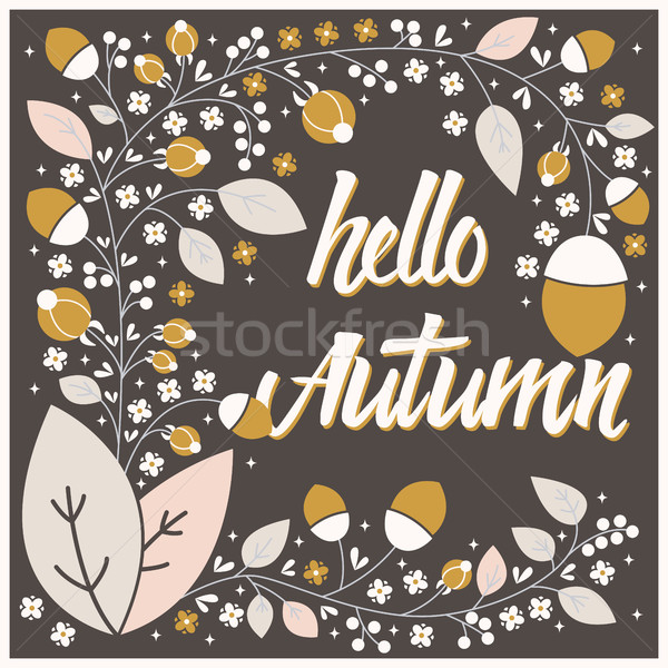 Stock photo: Autumn card design with floral frame and typographical message