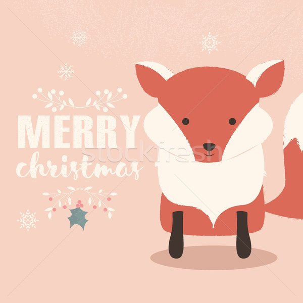Merry Christmas lettering postcard with cute orange baby fox Stock photo © BlueLela