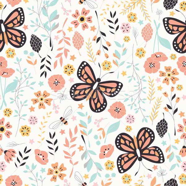 çiçekler elemanları kelebekler doğa Stok fotoğraf © BlueLela