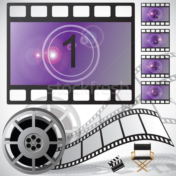 Film visszaszámlálás tekercs vektor internet fém Stock fotó © BlueLela