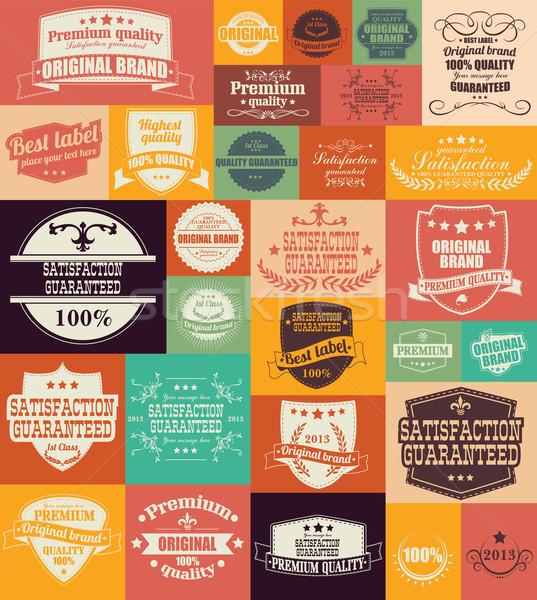 Raccolta vintage retro etichette badge francobolli Foto d'archivio © BlueLela