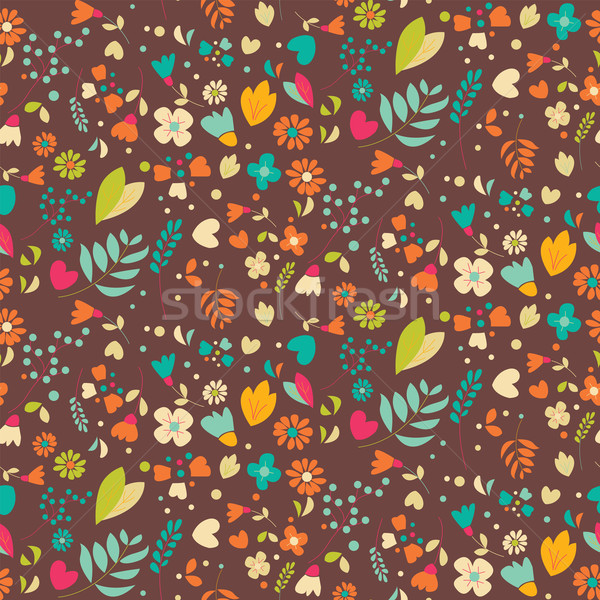 Stock photo: Bohemian hand drawn flowers, seamlss pattern