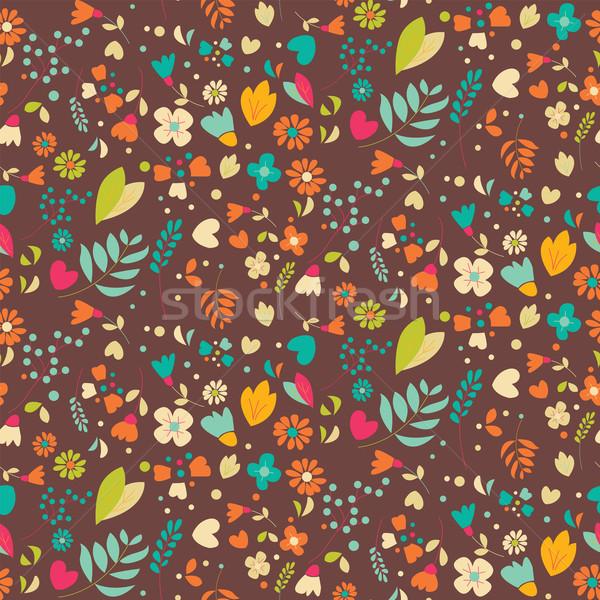 自由奔放な 手描き 花 パターン 中心 フレーム ストックフォト © BlueLela
