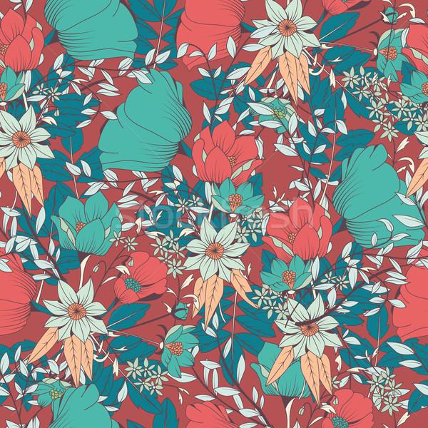 Végtelen minta terv kézzel rajzolt virágok virágmintás elemek Stock fotó © BlueLela
