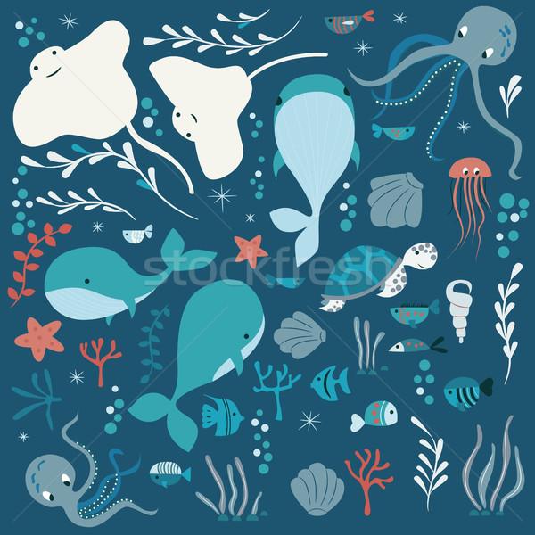 Toplama renkli deniz okyanus hayvanlar balina Stok fotoğraf © BlueLela