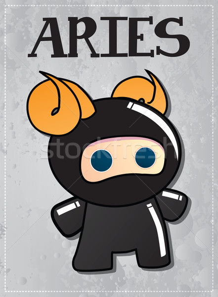 Zodiac sign Aries with cute black ninja character Stock photo © BlueLela