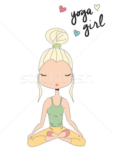Ioga menina sessão lótus pose Foto stock © BlueLela
