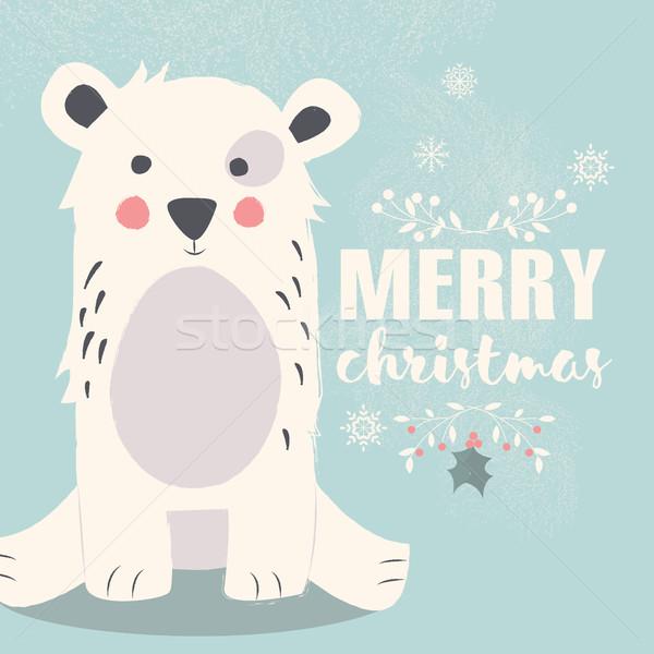Cute ijsbeer Blauw vrolijk christmas glimlach Stockfoto © BlueLela