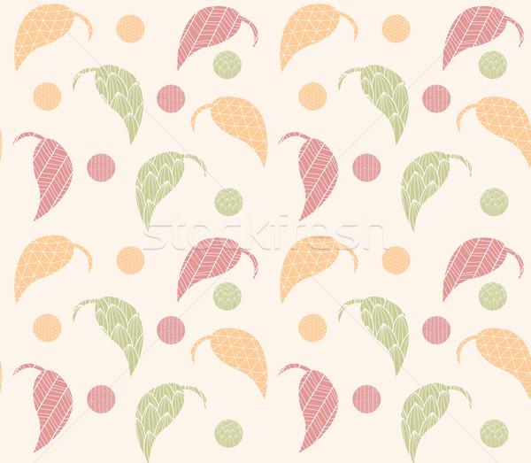 Foto stock: Dibujado · a · mano · hojas · línea · patrones · resumen