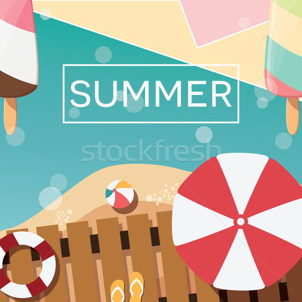 Modern yaz poster dizayn dondurma Stok fotoğraf © BlueLela