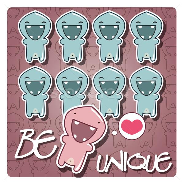 Kártya aranyos rajz szörny karakter üzenet Stock fotó © BlueLela