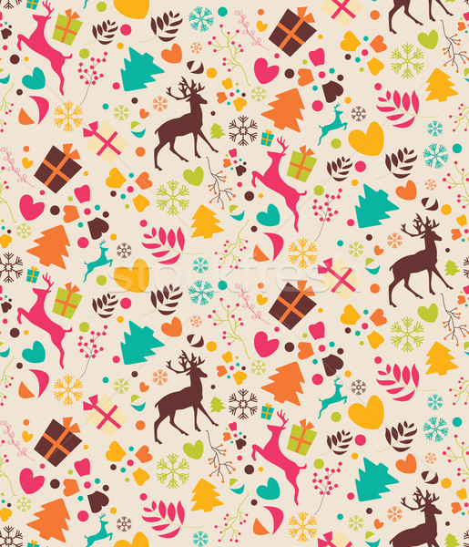 Seamless patterns with Christmas trees, reindeers, gift boxes an Stock photo © BlueLela