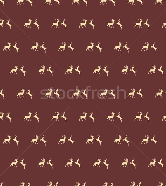 Seamless patterns with Christmas reindeers on brown background Stock photo © BlueLela