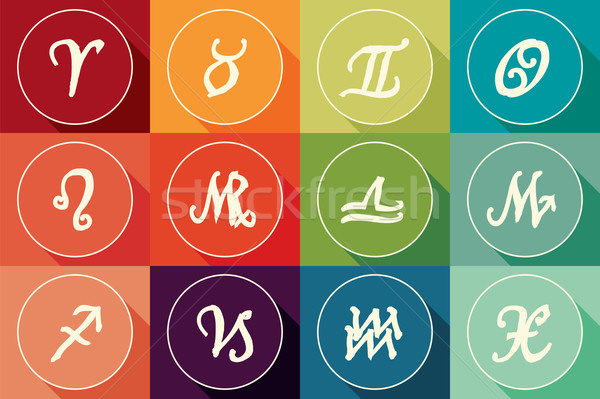 набор зодиак признаков дизайна долго тень Сток-фото © BlueLela