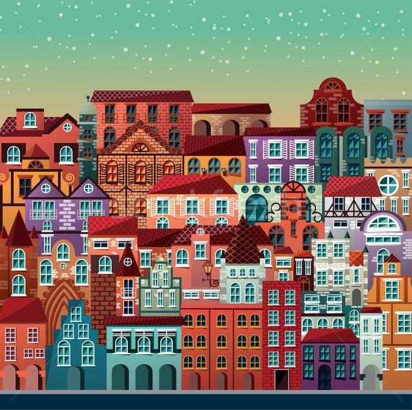 Kolekcja budynków domów urban scene niebo Zdjęcia stock © BlueLela