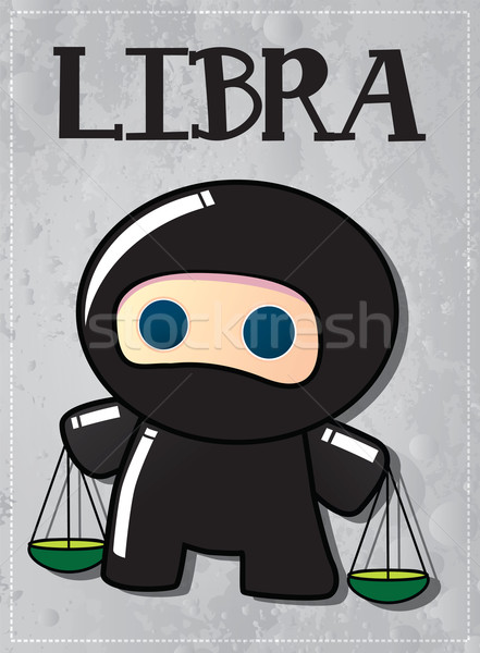 Stock photo: Zodiac sign Libra with cute black ninja character, vector
