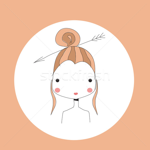 Horoscope Sagittarius sign, girl head Stock photo © BlueLela