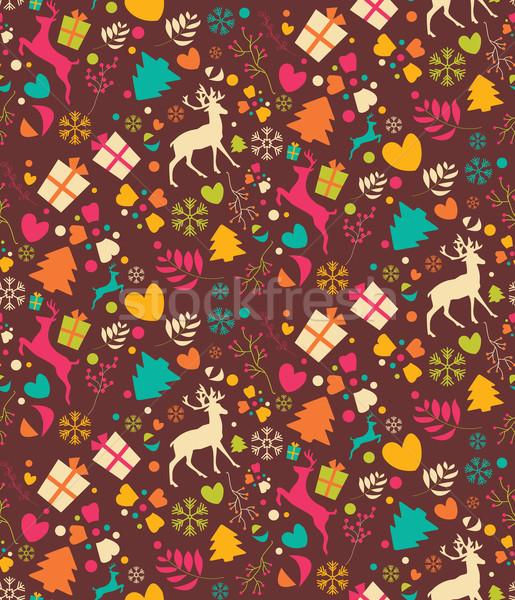 Stockfoto: Christmas · bomen · sneeuwvlokken · achtergrond