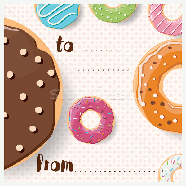 Birthday card design with colorful glossy tasty donuts Stock photo © BlueLela