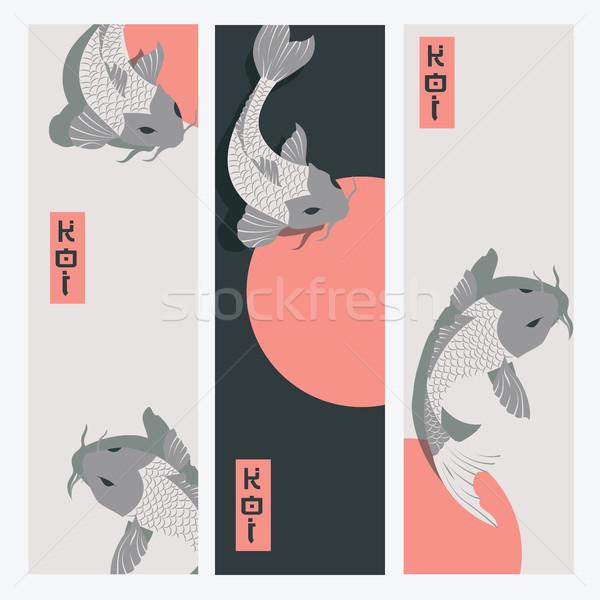 Trzy pionowy banery karp koi ryb Zdjęcia stock © BlueLela