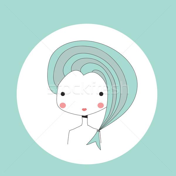 Horoscope Pisces sign, girl head Stock photo © BlueLela