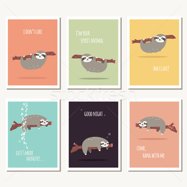Collection of six greeting cards with cute sloth and text message Stock photo © BlueLela
