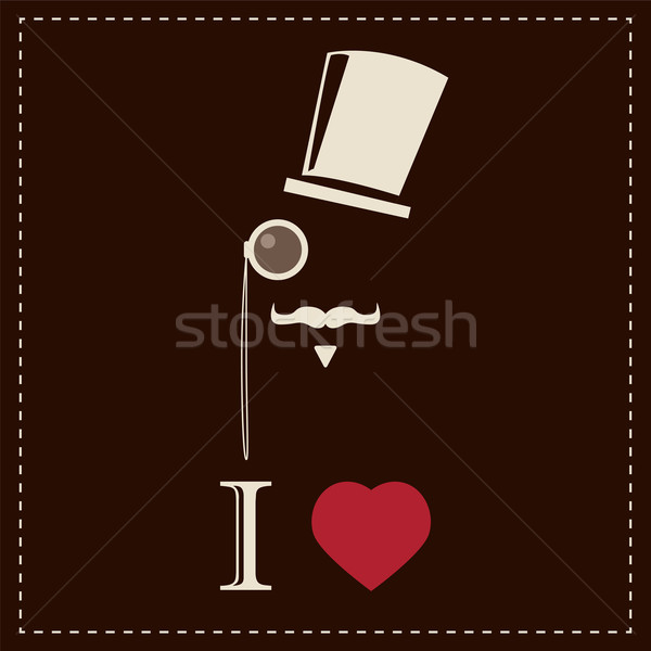 Vintage card with top hat, monocle and mustache, vector illustra Stock photo © BlueLela
