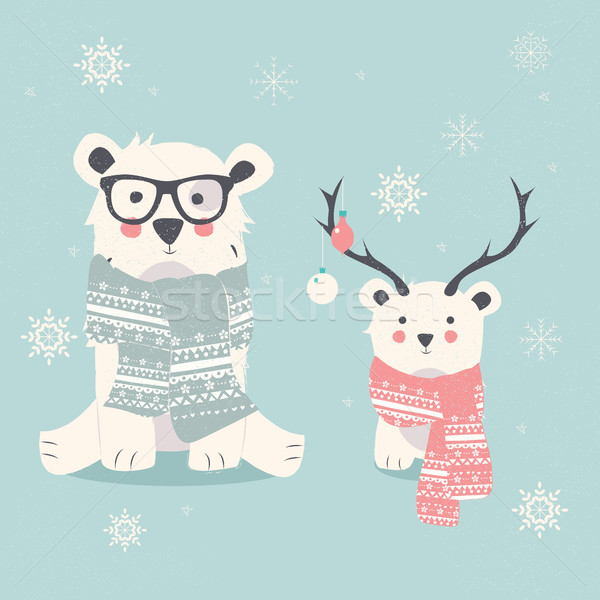 Merry Christmas postcard with two polar bears, hipster and cub Stock photo © BlueLela