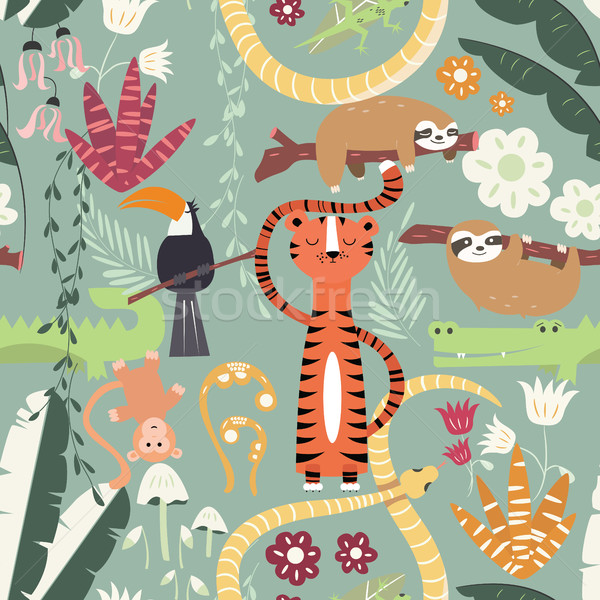 Seamless pattern with cute rain forest animals, tiger, snake, sloth Stock photo © BlueLela
