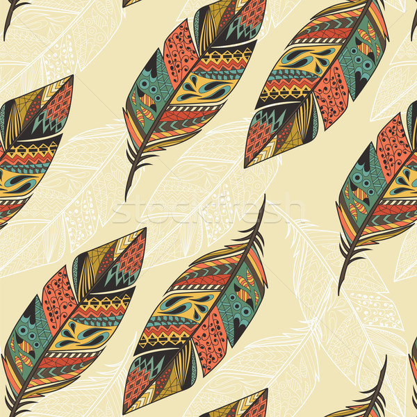 Seamless pattern with vintage tribal ethnic hand drawn colorful feathers, vector illustration Stock photo © BlueLela