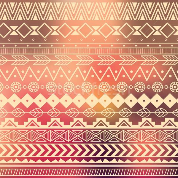 Aztec tribal pattern in stripes Stock photo © BlueLela