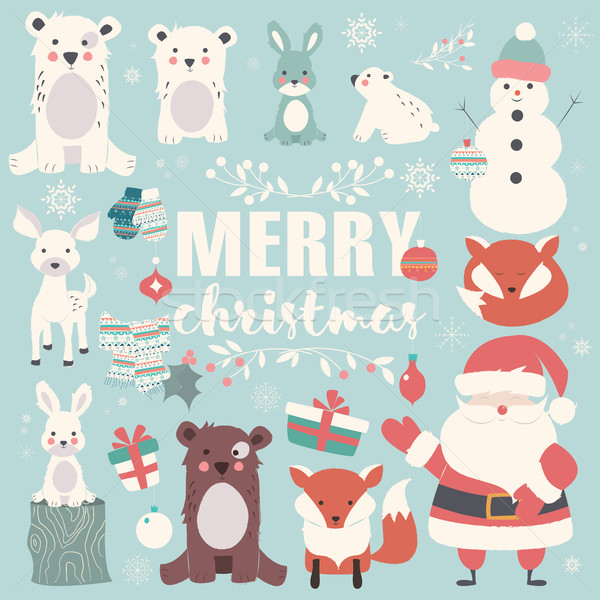 Collection of Christmas animals, lettering and Santa Claus, Merry Christmas Stock photo © BlueLela