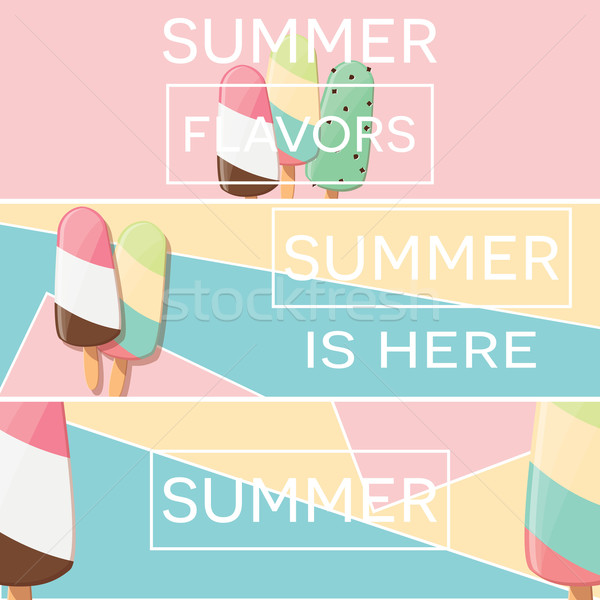 Three modern typographic summer poster designs with ice cream and geometric elements, vector illustr Stock photo © BlueLela