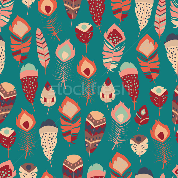Seamless pattern with boho vintage tribal ethnic colorful vibrant feathers, vector illustration Stock photo © BlueLela