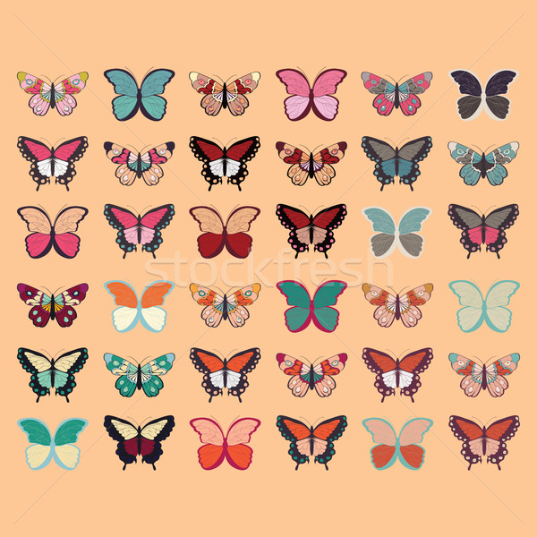 Collection of thirty six colorful hand drawn butterflies, orange Stock photo © BlueLela