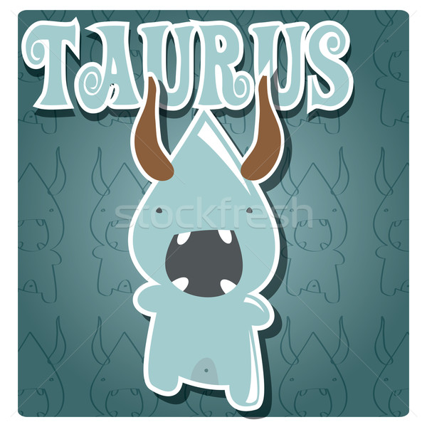 Zodiac sign Taurus with cute colorful monster Stock photo © BlueLela